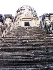 Steep steps to Angkor Wat