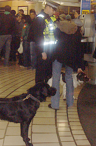 Transport Police at Leicester Square Tube Station with Sniffer Dogs