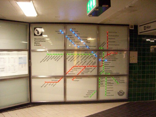Sparkly subway map in Stockholm