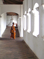 Monk in Dambulla (**luisa**) Tags: orange asia stupa monk buddhism srilanka dambulla