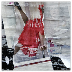 acrobat girl (piktorio) Tags: berlin germany torn poster ripped lacerated layers decollage fragement girl woman red dress acrobatic advertising transparency piktorio street paper scheinbar