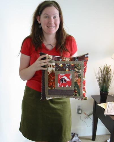 me with new skirt, hairband, and log cabin pillow