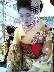 MAIKO   'Ichifumi' / Tea Ceremony (Marie Eve K.A. (away..)) Tags: travel red flower color colour tree nature beautiful beauty face yellow festival japan hair nokia spring kyoto tea ceremony makeup maiko geiko geisha  kimono teaceremony accessori