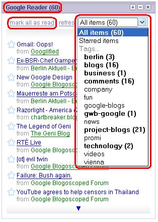 Neues Google Reader Gadget