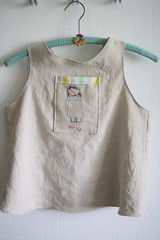 smock for miss L (UncommonGrace) Tags: linen embroidery weewonderfuls pinafore smock freshcut heatherbailey stitchette