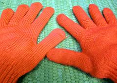 Orange Gloves (Danarah) Tags: orange color hands gloves april 2007 myoffice 041107