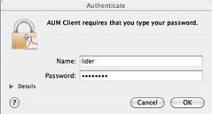 AUM client requires my password?