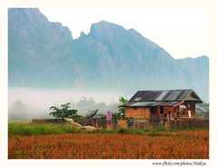 Sweet Home (Araleya) Tags: morning travel house mountain beautiful fog rural fz20 dawn landscapes asia southeastasia searchthebest fresh panasonic laos vangvieng simplelife araleya 10faves flickrphotaward