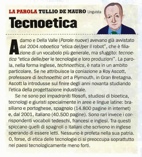 Tecnoetica: l'analisi di De Mauro