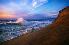 An ocean of an intermission (Zeb Andrews) Tags: ocean blue sunset film water oregon coast landscapes waves seascapes pacificocean chrome beaches pacificnorthwest nikonfm2 pacificcity capekiwanda fujivelvia specland bluemooncamera zebandrews zebandrewsphotography