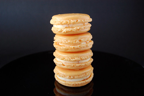 Apricot Macarons with Apricot Cream & Praliné