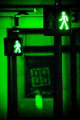 Mars attacks (ole) Tags: light paris france green silhouette fire europe crossing walk martian traffice bestofr