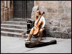 She plays cello (felber) Tags: barcelona portrait musician espaa music woman girl stone spain catalonia cello strings catalunya musik felber 5for2