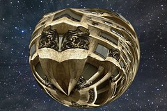 Gaudi-Escher.jr   privat Asteroid (PhotoComiX) Tags: houses home illustration fantastic gimp surreal ufo sphere gaudi di planet hearth spaceship outerspace escher crystalball spazio cristallo droste pianeti sfera crystalsphere mathmap asteroidi litteplanet