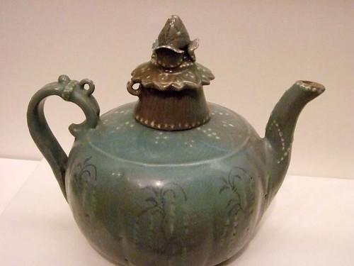 Ewer 1100-1200 CE Korea Goryeo dynasty Stoneware with celadon glaze