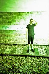 Albert (waltzcore) Tags: railroad portrait brick green leaves minnesota lomo lca xpro lomography crossprocessed rocks albert traintracks tracks minneapolis surreal tunnel lomolca xp overexposed gravel railroadtracks traintunnel tcwin tc062 albertelmore