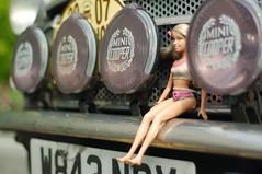 Mini girl (Alex Bamford) Tags: rally barbie mini bumper minicooper 2007 londontobrighton foglights nowaytotreatalady blackribbonbeauty alexbamford tiedtothebumper thebigbambooly wwwalexbamfordcom alexbamfordcom