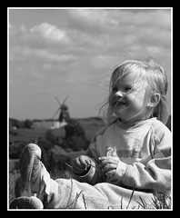 Catching my eye (Kirsten M Lentoft) Tags: bw mill girl topc25 topv111 denmark top hill momse2600 estershøj kirstenmlentoft