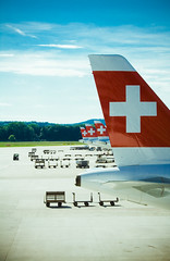 (frischmilch) Tags: travel red plane airplane schweiz switzerland airport suisse swiss zurich airline vehicle flughafen zurichairport zrh swissinternationalairlines whitecross staralliance swissairlines swissport ci33 gettyvacation2010