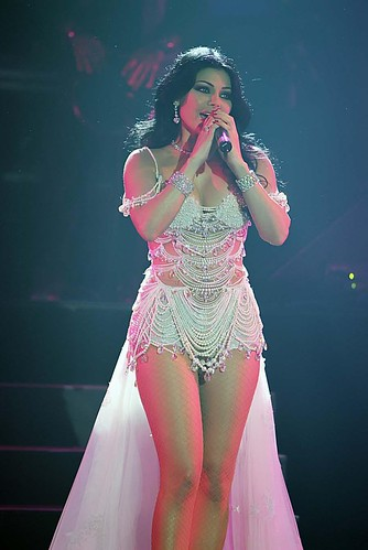 Lebanese Arab Singer Haifa Wehbe sings on stage