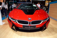 BMW i8 Protonic Red Edition at the 33rd International Motor Expo at IMPACT Challenger Hall in Muang Thong Thani, Nonthaburi, Thailand (UweBKK (α 77 on )) Tags: 33 33rd international motor expo impact challenger hall exhibition muang thong thani nonthaburi thailand southeast asia sony alpha 77 slt dslr bmw i8 protonic red edition luxury car hybrid electric