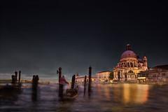 Venetian fog (singulartalent) Tags: venice grandcanal fog night gondolier reflections