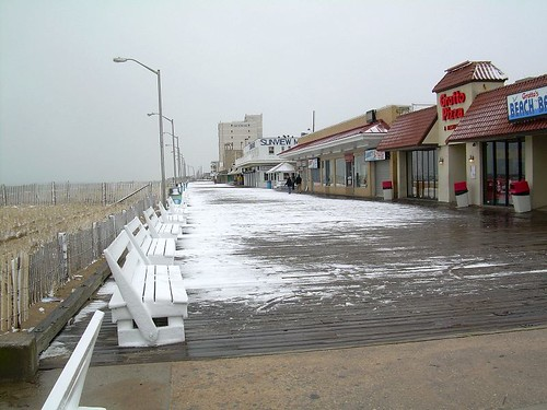 snowy boardwalk