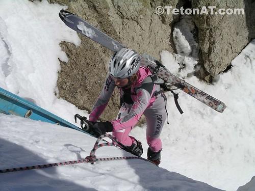 Monique Merrel on the ladder