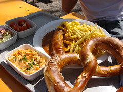 Bavarian lunch break (individual8) Tags: germany munich sausage fries flaucher april 2007 brezn