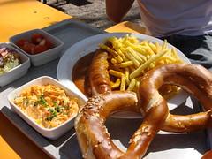 Bavarian lunch break (individual8) Tags: germany munich sausage fries flaucher april 2007 brezn
