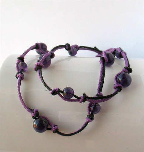 Knotted amethyst necklace