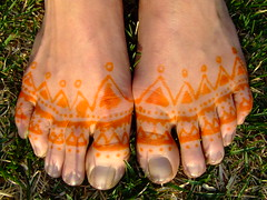Hennaed Feet, after removing paste.
