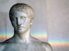Doriforo and the rainbow (DarkFrame) Tags: italy statue rainbow italia statues nikond70s napoli naples arcobaleno polykleitos 50club doriforo museoarcheologiconazionale