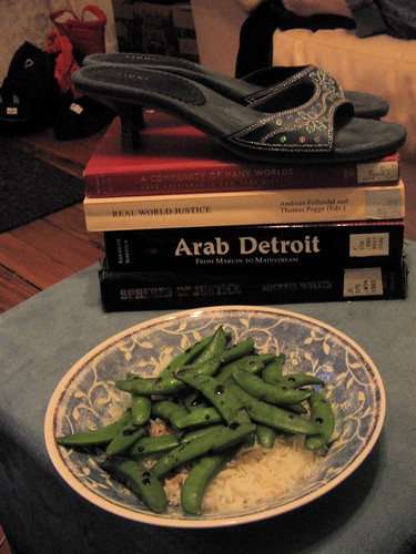 shoes, books, snap peas