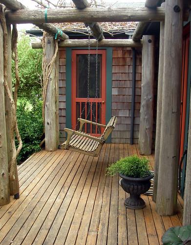 a seat under wisteria