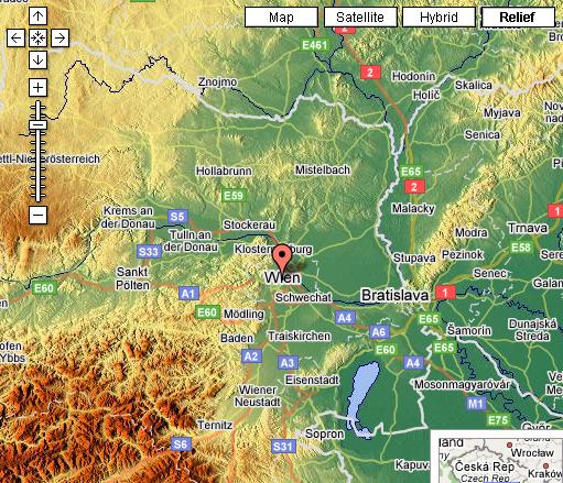 Google Maps Mashup: Reliefkarte