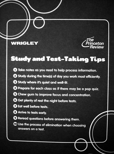wrigley's test taking tips