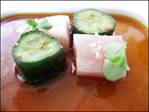 Jean Georges (New York) - Cubes of Kanachi, Spiced Japanese Cucumber, & Soy Basil Infusion