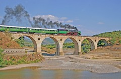Bulgaria State Railways 2-8-2 steam locomotive on viaduct, August 25, 2006 (Ivan S. Abrams) Tags: arizona ivan eisenbahn trains steam bulgaria getty abrams railways trainspotting locomotives get