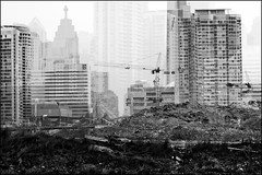 Imaginary City - 1 of 3 (Trevor Haldenby) Tags: city bridge bw toronto art canon construction cityscape trevor cities bathurst assignment2 citylayers 70200f4l artsee imaginaryspace trevorhaldenby cityportraiture 400d torontoconstruction imaginarytoronto impossiblepresents torontooverlayers sharedurbanspace