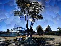 Picnic at Bennelong Point (thescatteredimage) Tags: topv111 topv555 topv333 canon20d topv1111 sydney australia nsw operahouse harbourbridge sydneyharbour scattered lensbaby20 hockneyesque 21april06