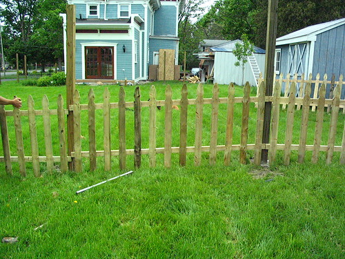 Fence panel, after raking