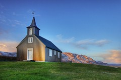 A golden cast ... (asmundur) Tags: sunset house art church photography gold golden iceland quality reykjavik esja christian reykjavk hdr sland trespassing fineartphotography 3xp photomatix kjalarnes flickrsbest may2007 abigfave brautarholt brautarholtskirkja