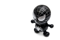 Black Spidey (Devin Kho) Tags: stilllife white black devin movie toy spider still keychain comic object stock spiderman indoor olympus whitebackground hero spidey product kho brunei e500 zd 1454mm devinkho