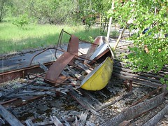 Ride at Prypiat fairground (mikestuartwood) Tags: boat europe power ride radiation nuclear ukraine radioactive powerplant easterneurope nuclearpower chernobyl alienation chornobyl prypiat prypjat pripjat