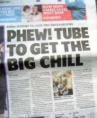 Tube gets chilly - London Paper 29th May