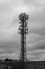 COMMUNICATIONS TOWER_DSC_0509_LR_2.0 (Roger Perriss) Tags: aston tower nikon1 blackandwhite fence aerials