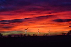 The sun set in Kansas again today (slammerking) Tags: sky sunset sundown dusk windmill windmills clouds colorful beauty silhouette trees energy december