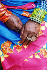 "INDIA - ""One Rupee "" ring (BoazImages) Tags: life pink red woman india topv111 one coin colorful asia tribal ring jewlery sari orissa indigenous jewelryornaments documentry rupee mywinners jotblog aplusphoto superbmasterpiece lpdetails"