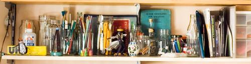 close up of the glass jar shelf